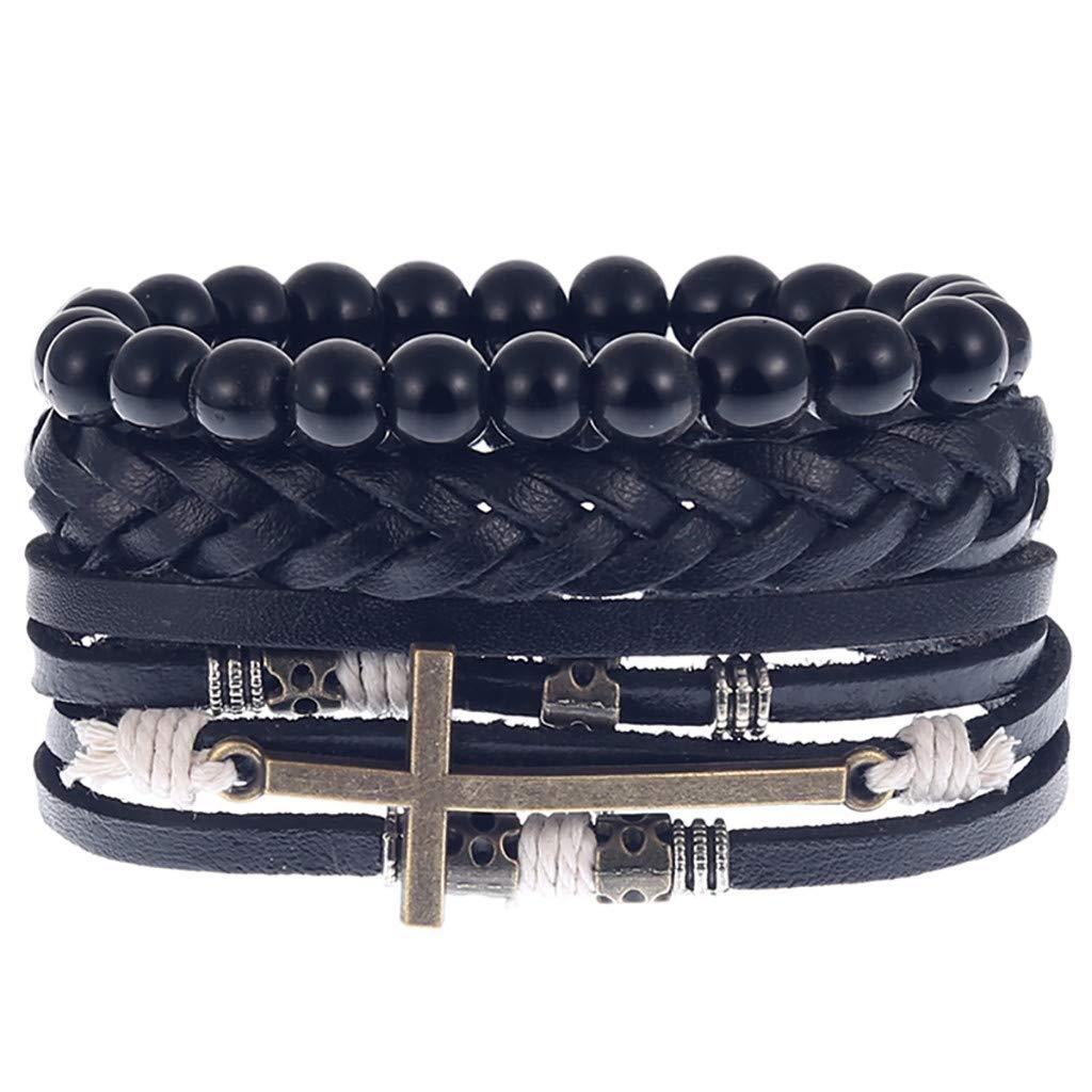 Bracelet Set Jewelry for Man Onefa Product Men Simple Vintage Woven Leather Bracelet Alloy Guitar Leather Bracelet Set