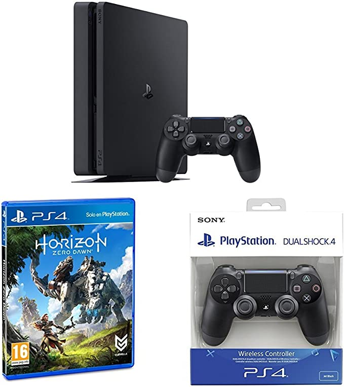 PlayStation 4 Slim (PS4) - Consola de 500 GB + Horizon Zero Dawn - Edición Normal + Sony - DualShock 4 Negro V2: Amazon.es: Videojuegos