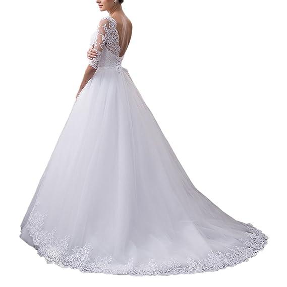 VIPbridal V-cuello de las mujeres sin espalda encaje vestido de novia de vestido de novia de encaje: Amazon.es: Ropa y accesorios