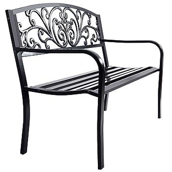 outdoor furniture decor outdoor seating giantex 50quot patio garden bench loveseats park yard furniture decor cast iron frame black amazoncom 50