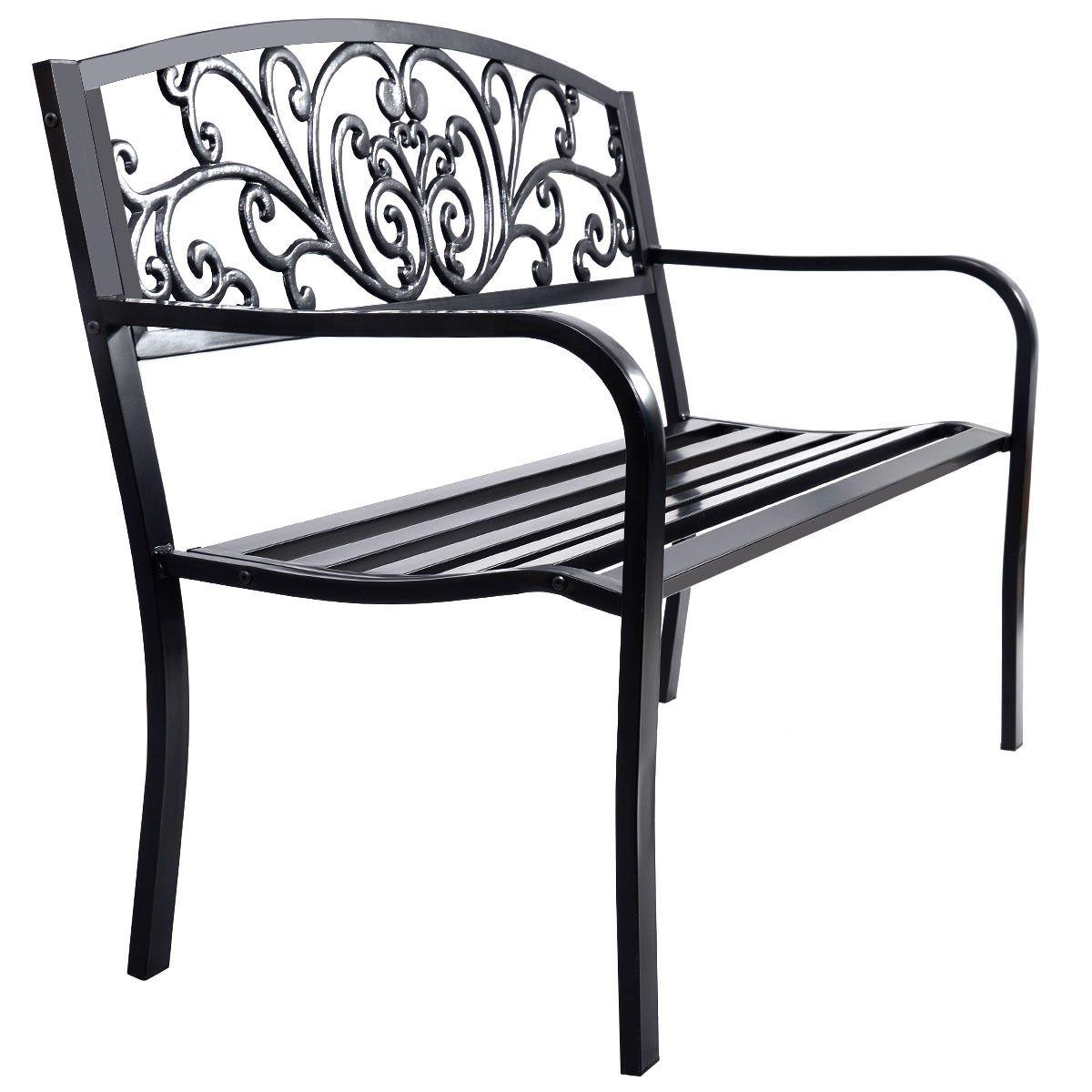 Giantex 50'' Patio Park Garden Bench Porch Chair Steel Frame Cast Iron Backrest