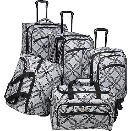 american-flyer-luggage-silver-clover-5-piece-set-spinner-black-gray-one-size