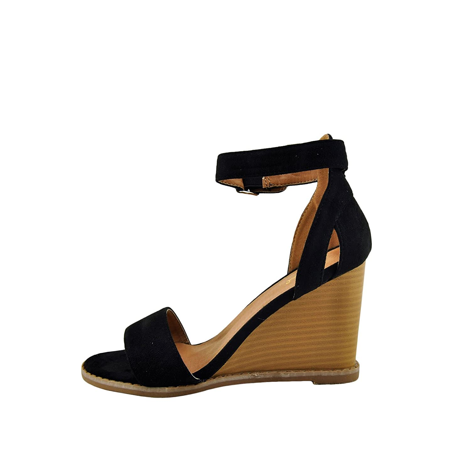 ce892090aeda3e ... Qupid Finley 01 Women s Open Toe Toe Toe Ankle Strap Stacked Wedge  B076VG986V 6 B( ...