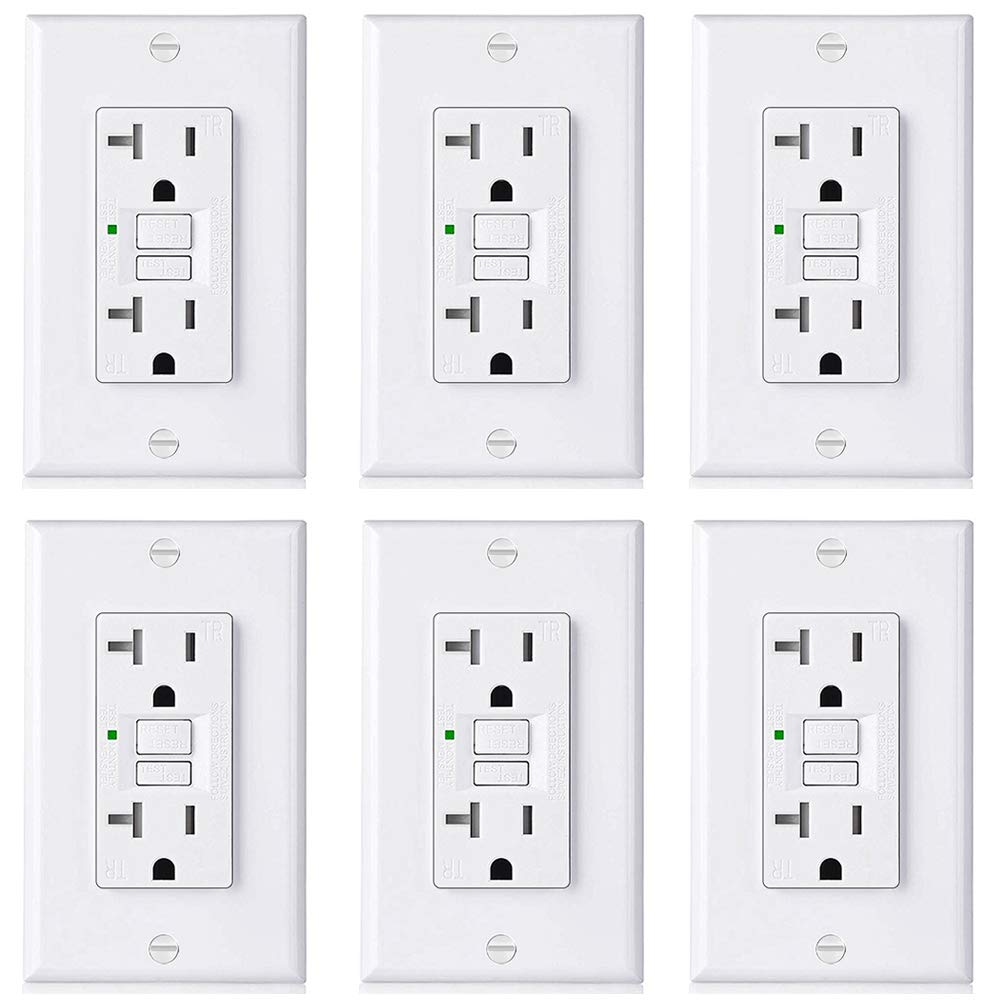 6 Pack Bestten 20a Gfci Outlet Slim Tamper Resistant Tr Gfi These Outlets Use Ground Fault Circuit Interrupter Or Duplex Receptacle With Led Indicator Auto Test Decor
