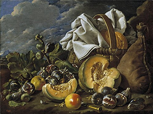 high quality polyster Canvas ,the Vivid Art Decorative Canvas Prints of oil painting 'Melendez Luis Egidio Bodegon calabaza higos bota de vino y cesto Third quarter of 18 Century ', (Caras De Calabazas De Halloween)