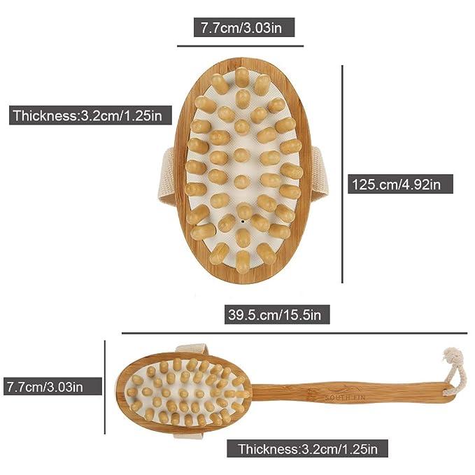 Masajeador Cepillo 2 en 1 de bambú del baño mojado seco,cepillo largo masaje cuerpo de la manija-exfoliante trasero masajeador de la piel del depurador de ...