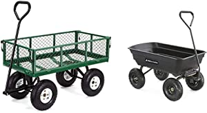 Gorilla Carts GOR400-COM Steel Garden Cart with Removable Sides, 400-lbs. Capacity, Green & GOR4PS Poly Garden Dump Cart with Steel Frame and 10-in. Pneumatic Tires, 600-Pound Capacity, Black