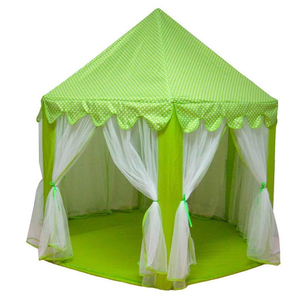 子供用テント 六角形プリンセスキャッスル 特大チュール プレイハウス トイハウス (カラー:グリーン) B07R52VT36