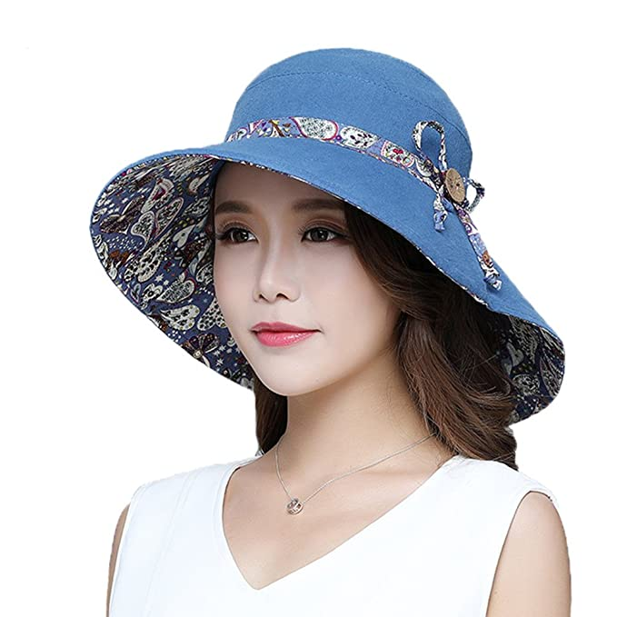 b2bd9406d Image Unavailable. Image not available for. Color: Headshion Womens Wide  Brim Floppy Sun Hat Reversible ...