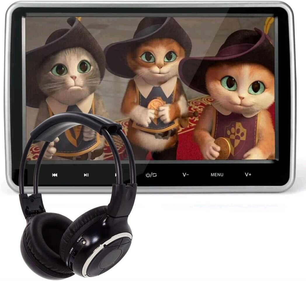 10.1 Inch HD Digital MultimediaMonitor Super-thin Car Headrest Dvd Player With Ir headphone and HDMI Port and Remote Control USB And SD