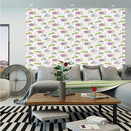 Baby Huge Photo Wall Mural,Cute Insects Snail Caterpillar Dragonfly Bees Flowers Joyful Playroom Summer Print Decorative,Self-Adhesive Large Wallpaper for Home Decor 100x144 inches,Multicolor