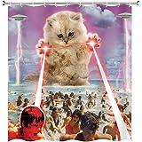 MERCHR Funny Alien Kitten cat Shower Curtain, UFO on The Beach catching Human Shower Curtains, Waterproof Polyester Fabric Ba