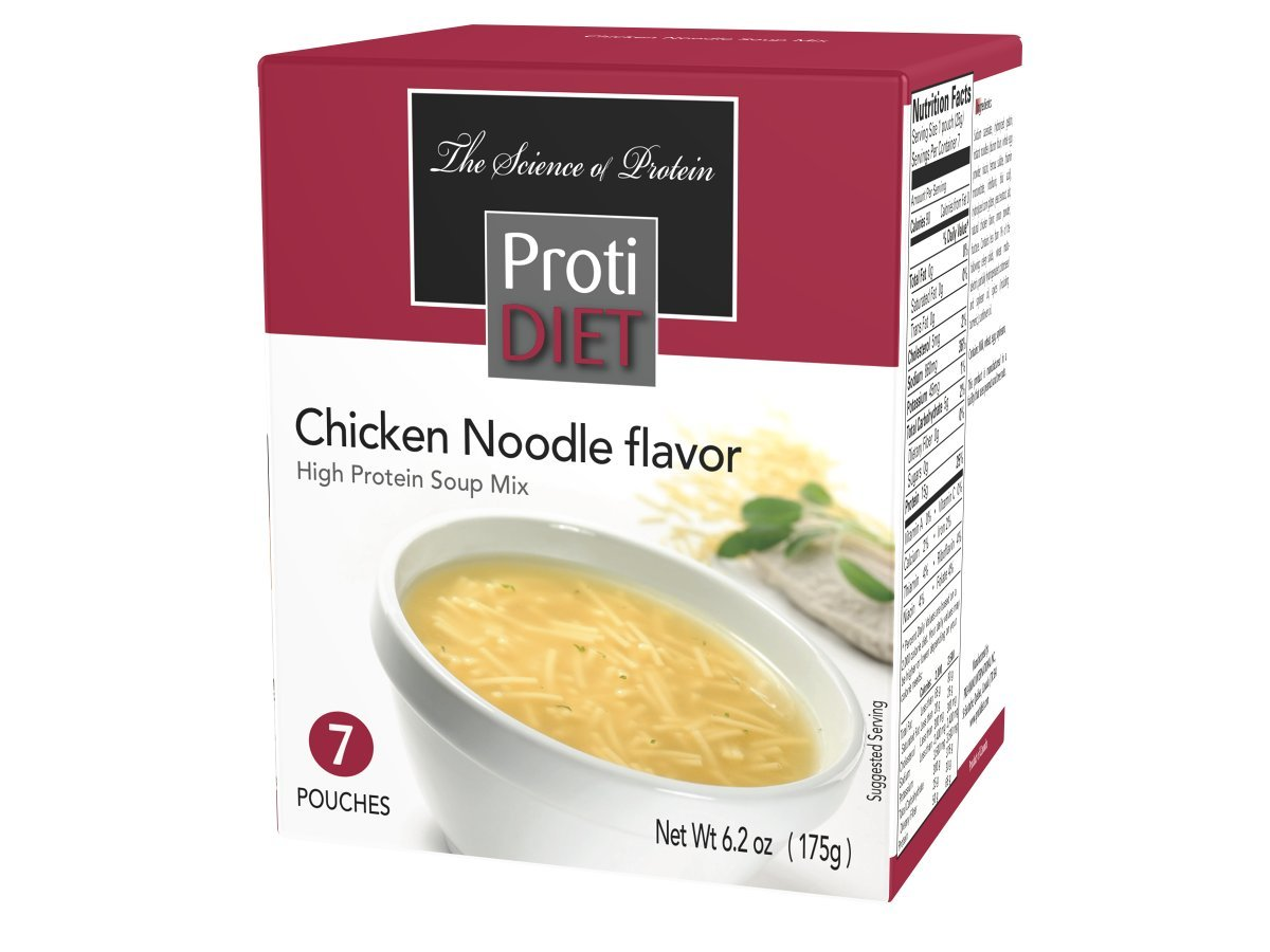 ProtiDIET Chicken Noodle Soup (7 Pouches), High Protein, Delicious Chicken Noodle Soup Mix, No Sugar Meal Replacement, No Trans Fat, 15G Protein, 90 Calories 6.2 oz by Protidiet