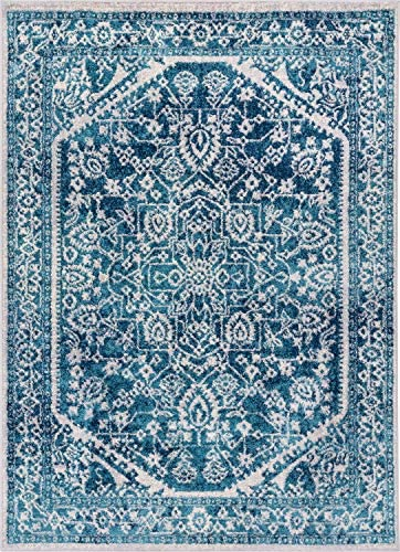 Well Woven Luna Medallion Vintage Oriental Blue Area Rug 8×11 7'10″ x 9'10″