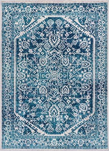 Well Woven Luna Medallion Vintage Oriental Blue Area Rug 8×11 7'10″ x 9'10″