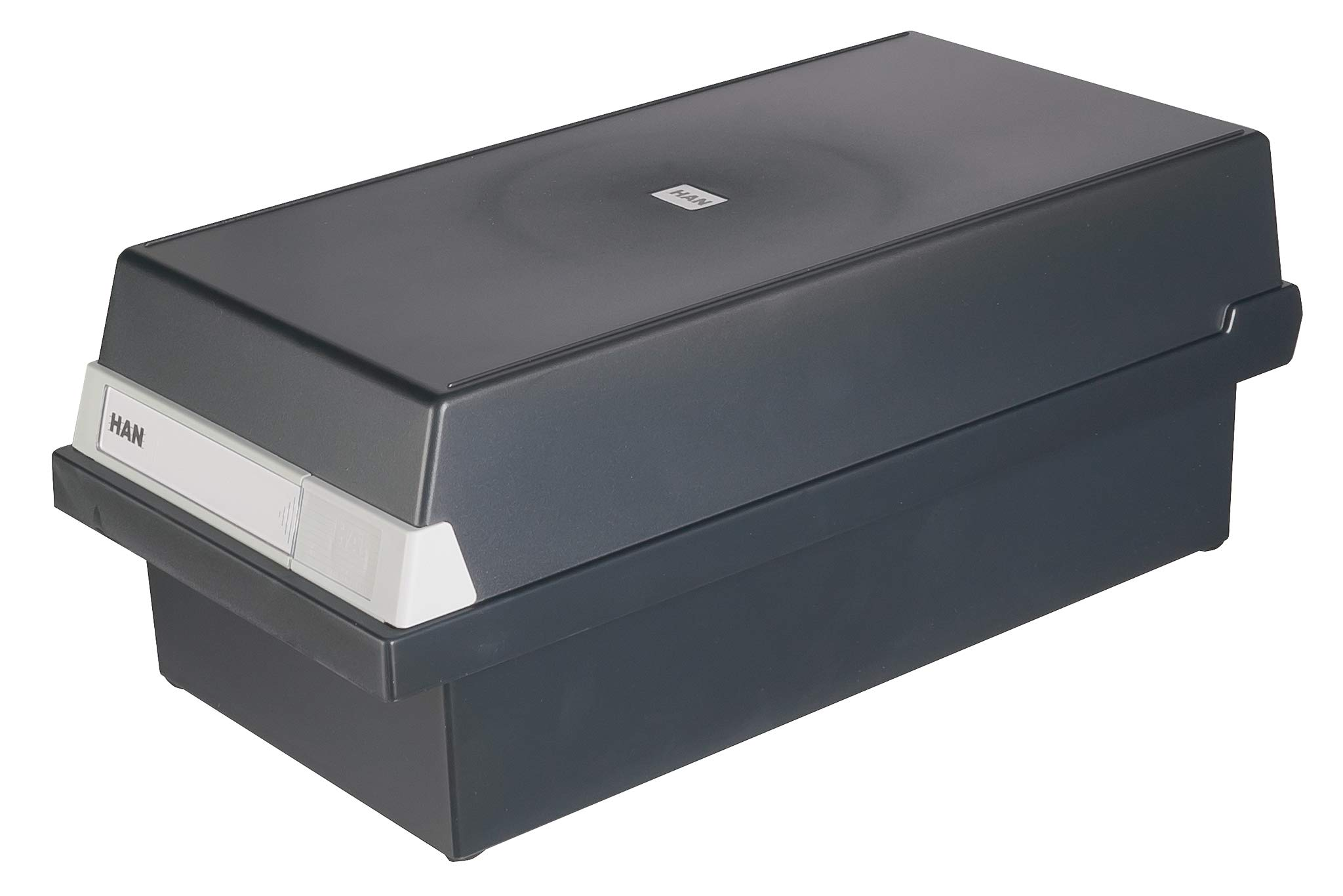 HAN 956-13, Card Filing Box A6 Landscape. Innovative, Attractive Design Holds 1,300 Cards, readjustable lid Supplied with Large Inscription Label, Black by HAN