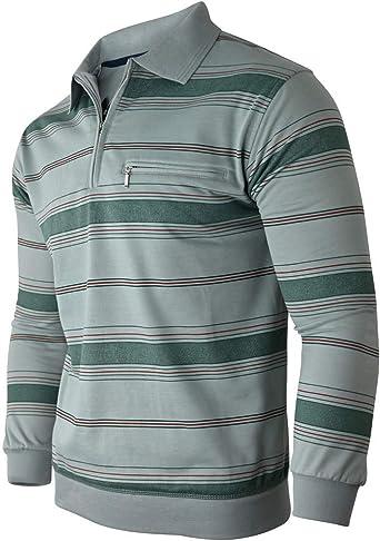 Soltice Camisa polo de manga larga para hombre, sudadera manga larga con cuello, tallas M hasta 3XL
