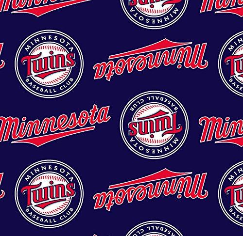 Minnesota Twins Fleece - Fleece Minnesota Twins Navy MLB Baseball Sports Team Fleece Fabric Print By the Yard s6616bf