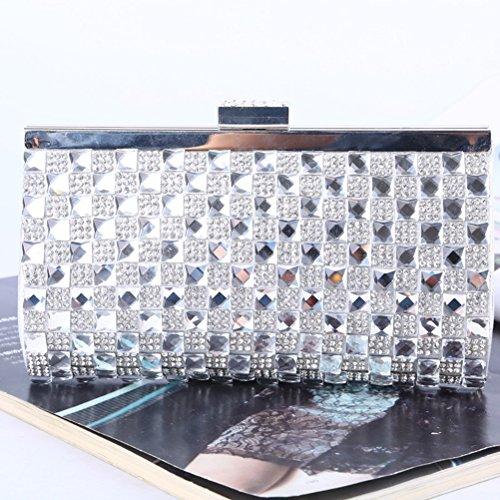 Pochette da sera OULII Pochette elegante per cerimonia e festa con cristallo in Argento