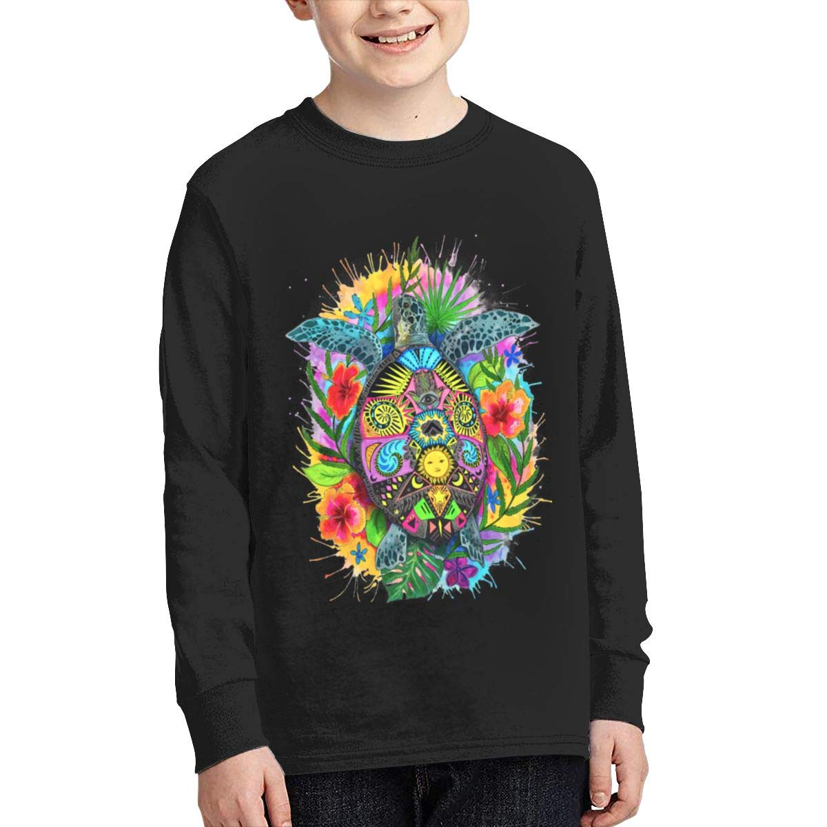 Hawaiian Turtle Colorful Long Sleeve Shirt for Girls