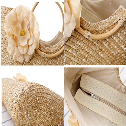 Woven Beige Beach Straw Acmede Women Rose Red Handbag Summer Flower Shopping Bag AWwwI6O1Pq