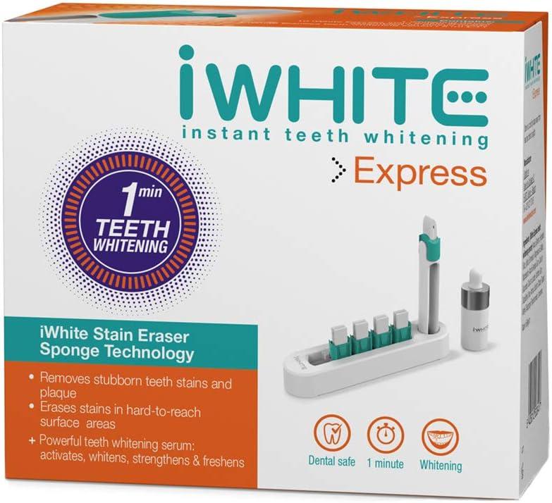 Kit de blanqueamiento iWhite Express - Aplicador para blanqueamiento dental - Resultados en solo un minuto - Ingredientes probados clínicamente - Fortalece y protege el esmalte