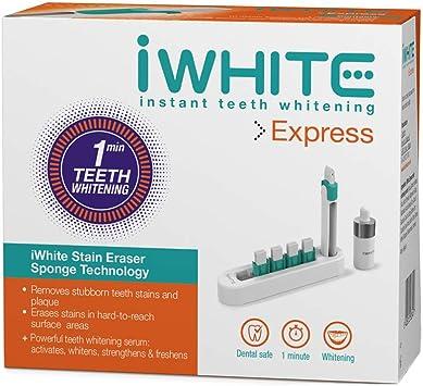 Kit de blanqueamiento iWhite Express - Aplicador para blanqueamiento dental - Resultados en solo un minuto - Ingredientes probados clínicamente - Fortalece y protege el esmalte: Amazon.es: Salud y cuidado personal