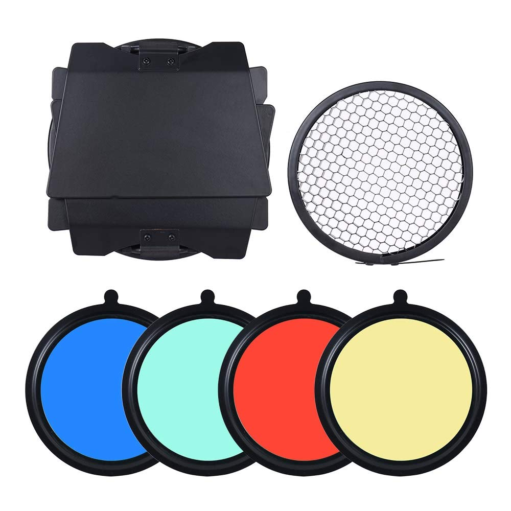 Mount Metal Bar Door Barn Door With Honeycomb Grid 4 Pieces Color Gel Filters 96mm Universal For Studio Photography Flash Light by Lixinke (Image #8)