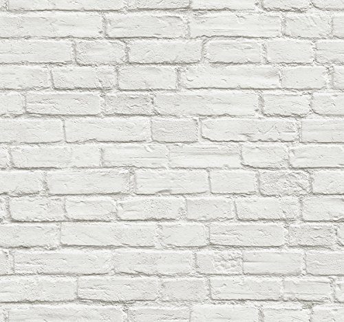 NextWall Vintage White Brick Peel and Stick Wallpaper by NextWall