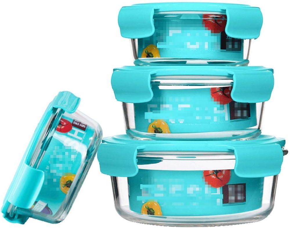 アップグレードされたスナップロックふたガラスの食品保存容器電子レンジ冷凍庫や食器洗い機付きのガラス食事準備コンテナ部分制御 lxhff (Color : Blue, Size : 4 piece set)