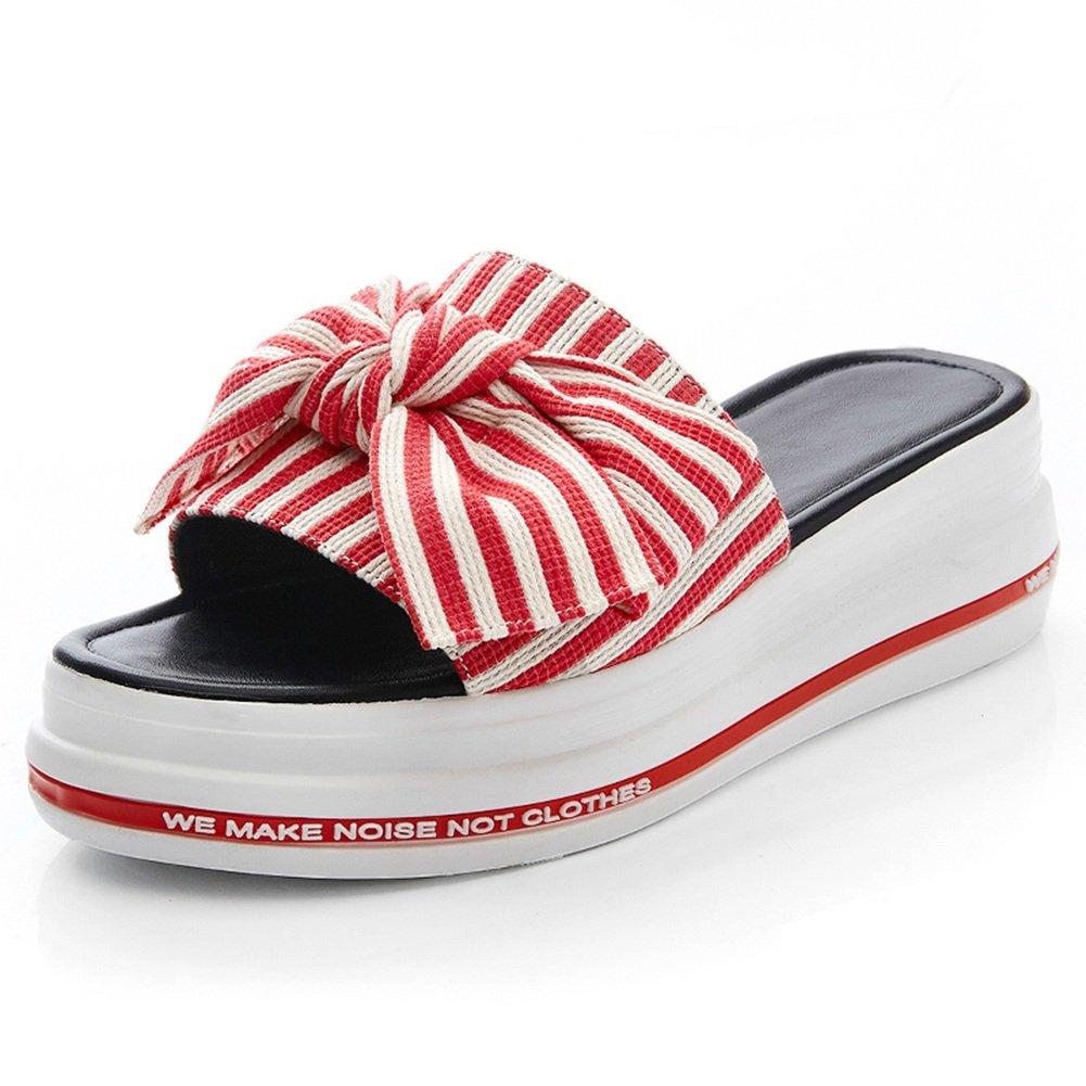LIXIONG zapatillas Hembra verano Ropa exterior Moda Nudo mariposa Fondo de pastel de pino Fondo grueso zapato, Altura del talón 5cm, 4 colores -Zapatos de moda ( Color : #1-Red , Tamaño : EU34/UK3/CN34/220 ) EU34/UK3/CN34/220|#1-Red