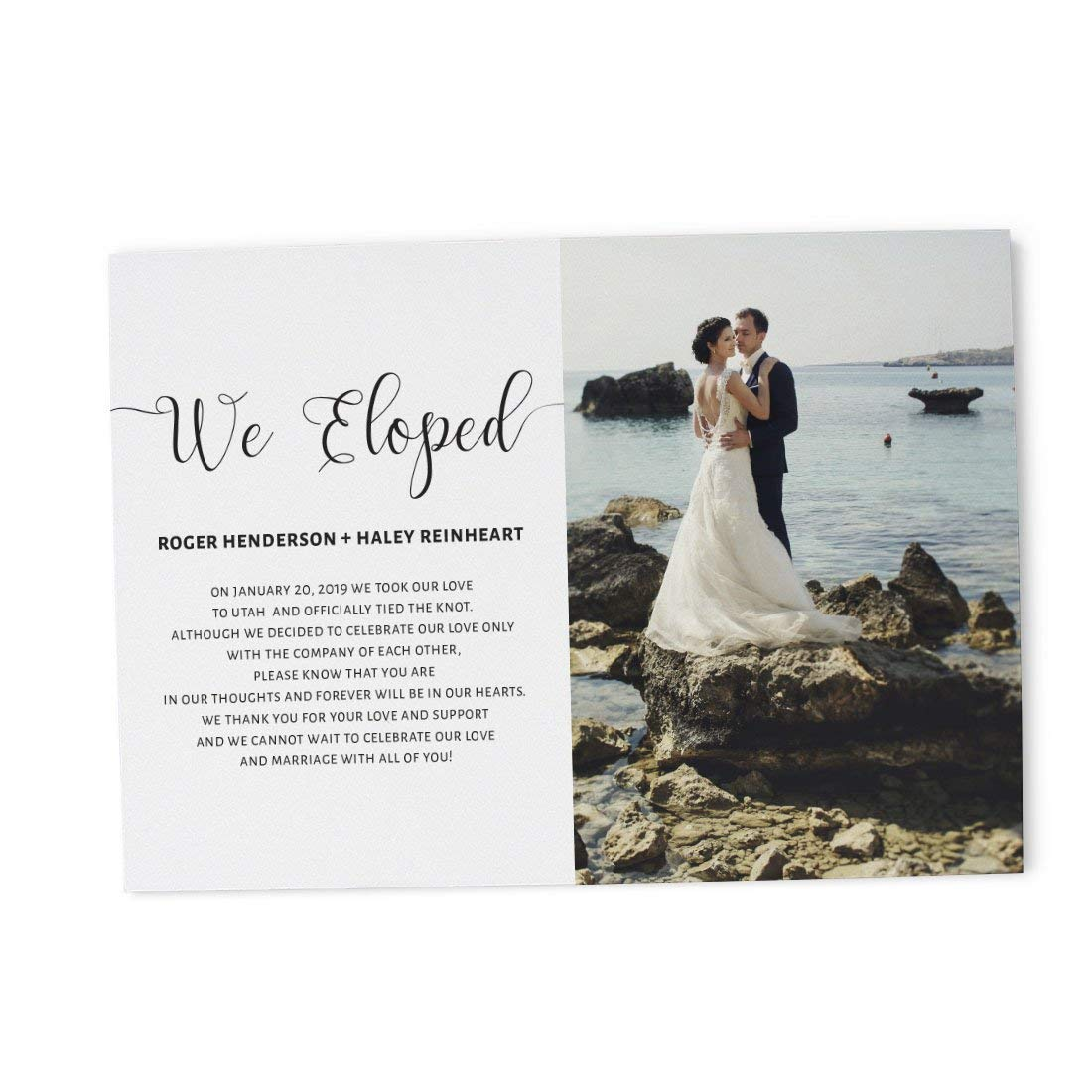 """""""We Eloped"""" Elopement Wedding Announcement Cards - Marriage Reception Invitation - We Eloped Party Invites - Custom, Personalized, Unique Card Stock ..."""