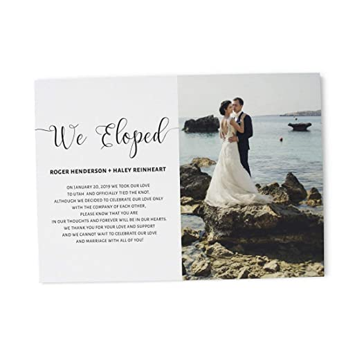Amazon Com We Eloped Elopement Wedding Announcement Cards