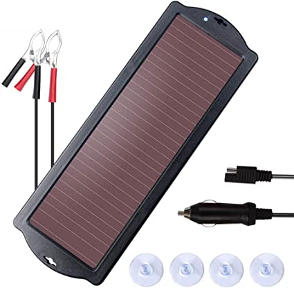 MEGSUN 12 Volt 3W Solar Car Battery Maintainer Trickle Chargers Kits Portable Waterproof Solar Panel Charging Kit for Car Automotive 3W Trailer Boats Snowmobile. Camper Motorcycle RV