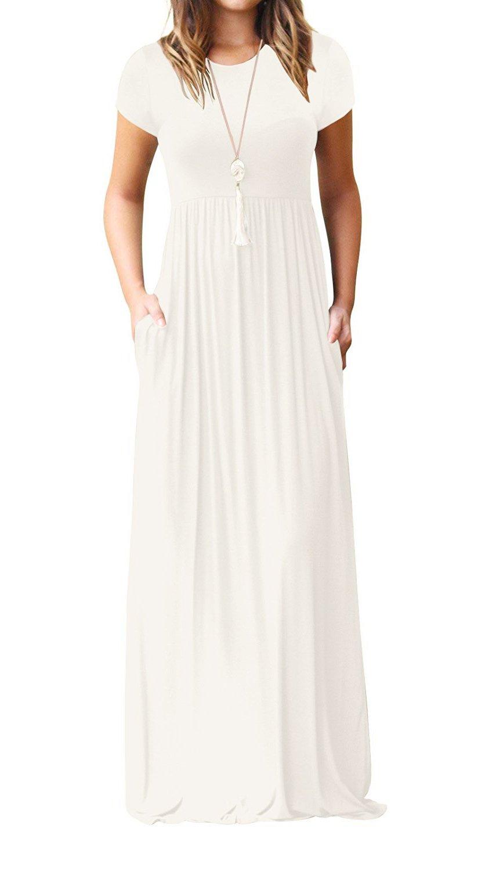 Viishow Women's Short Sleeve Loose Plain Maxi Dresses Casual Long Dresses with Pockets