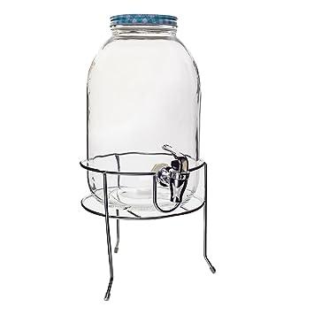 Esto24 Großer Getränkespender Aus Glas Mit Getränkeständer 5 Liter