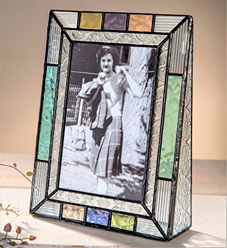 J Devlin Pic 372-46V Colorful Stained Glass 4x6 Picture Frame Blue Peach Purple Table Top Photo Frame Keepsake Gift Home ()
