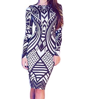 6ced387e02b made2envy Geo Pattern Long Sleeve Bodycon Dress (S