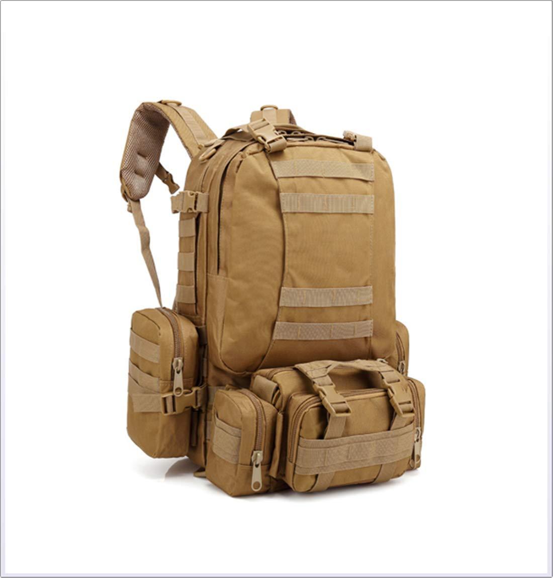 Khaki  LHY voyage Tactique Sac de Taille Randonnée Dos d'extérieur Cyclisme Assault Pack en Plein air Militaire Trekking Et Camping portable Molle Grande capacité Réglable pour Pêche Escalade Alpinisme 53L