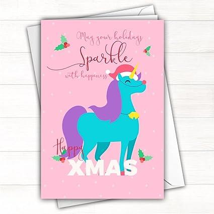 Unicornio brillante Navidad Tarjeta grande A5 tamaño con sobre 14 ...