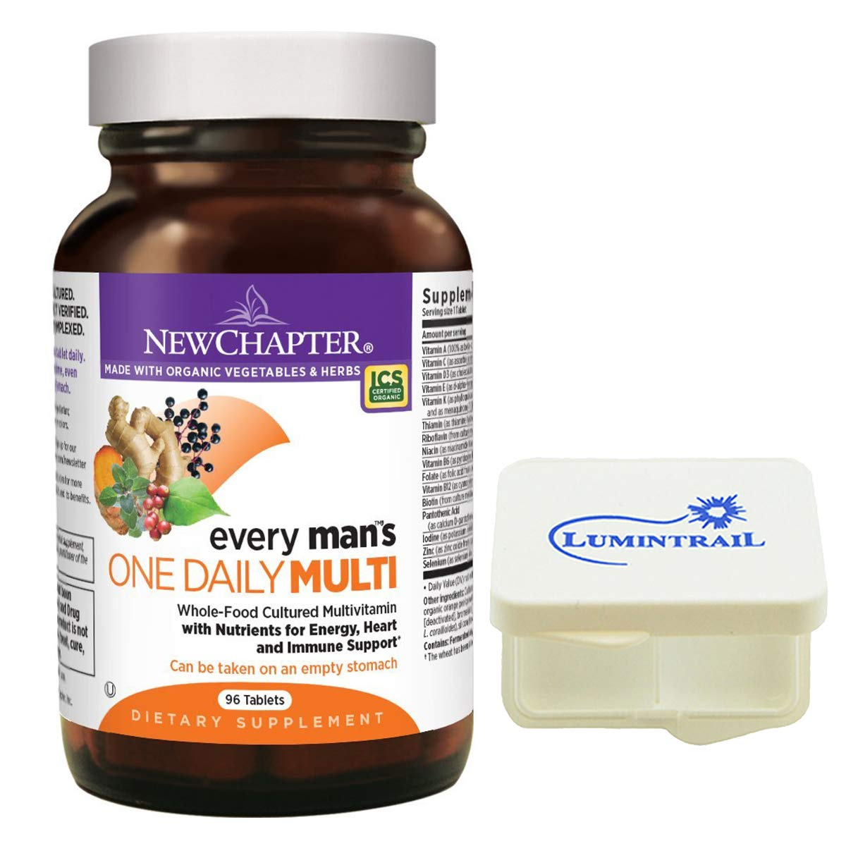 New Chapter Every Man's One Daily, Mens Multivitamin with Probiotics, Vitamin D3, Non-GMO - 96 Tablets Bundle with a Lumintrail Pill Case