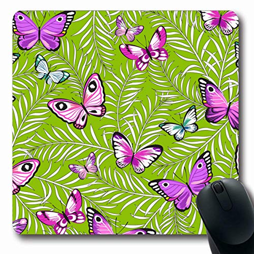 (Ahawoso Mousepad Oblong 7.9x9.8 Inches Hawaiian Butterflies Flowers Exotic Pattern Petals Graphic Beach Pink Allover Aloha Design Office Computer Laptop Notebook Mouse Pad,Non-Slip Rubber)