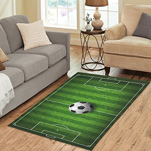 InterestPrint Carpet Soccer Football on Grass Field Area Rug 5'x 3'3