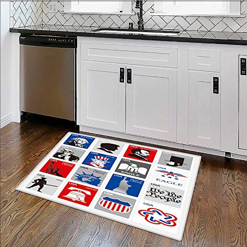 Perfect Kitchen Mat usa symbols set icons framed stamps Easy Clean W30