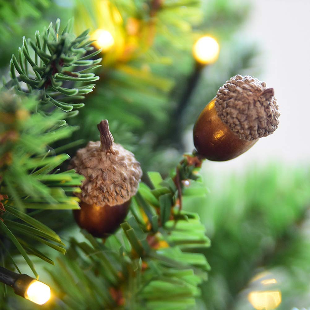 Amosfun 10 pcs Artificial Acorns Set Simulation Small Lifelike Christmas Tree Decor DIY False Nuts Photo Props for Shop Restaurant