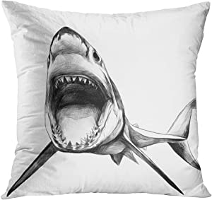 TOMKEYS Throw Pillow Cover Attack The Shark Swims with Open Mouth Sketch Graphics Black and White Drawing Teeth Angry Decorative Pillow Case Home Decor Square 20x20 Inches Pillowcase