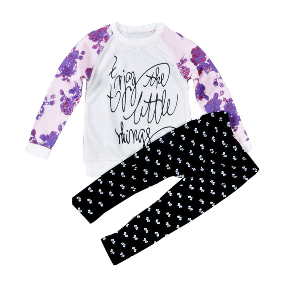JUNNEY/_ 1Set Toddler Baby Girl Long Sleeve Print T-shirt Tops+Pants Outfits