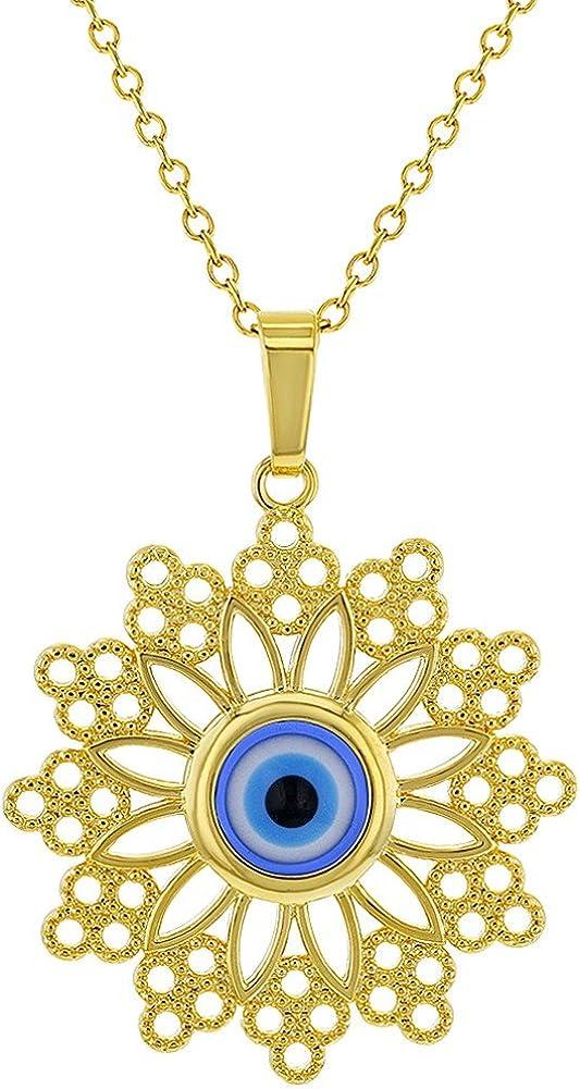 Evil Eye Necklace Gold Enamel Jewelry 925 Gold Everyday Necklace Fashion Jewelry Blue Medallion Necklace Dainty Necklace