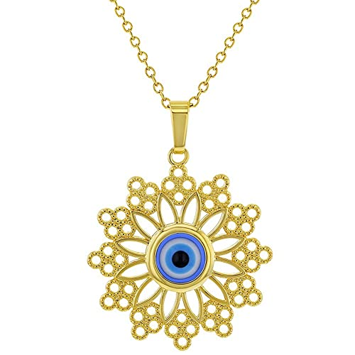 Amazon 18k gold plated blue greek evil eye protection nazar 18k gold plated blue greek evil eye protection nazar medal pendant 19quot aloadofball Image collections