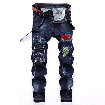 Jeans de Hombre Pantalones Vaqueros Desgastados Desgastados ...